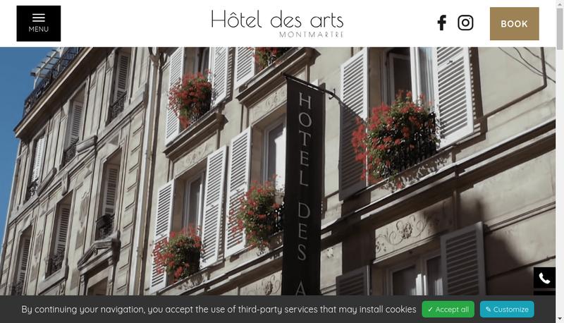 Capture d'écran du site de Societe Hotel des Arts