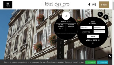 Site internet de Societe Hotel des Arts