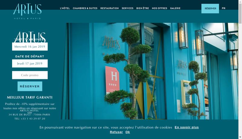 Capture d'écran du site de Artushotel