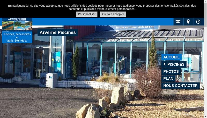 Capture d'écran du site de Aquilus Piscines