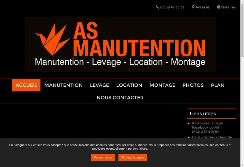 Capture d'écran du site de As Manutention