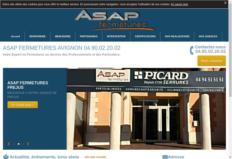 Capture d'écran du site de Asap Fermetures