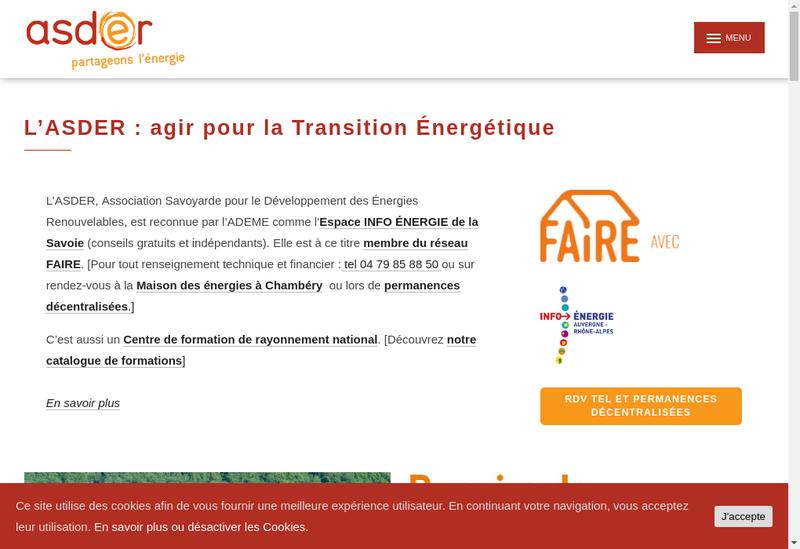 Capture d'écran du site de Asder