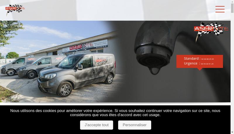 Capture d'écran du site de Aser Eau