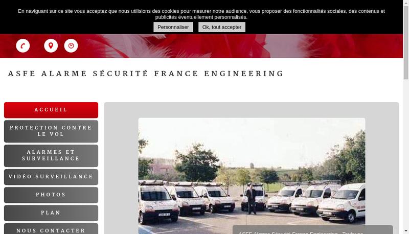 Capture d'écran du site de Alarme Securite France Engineering