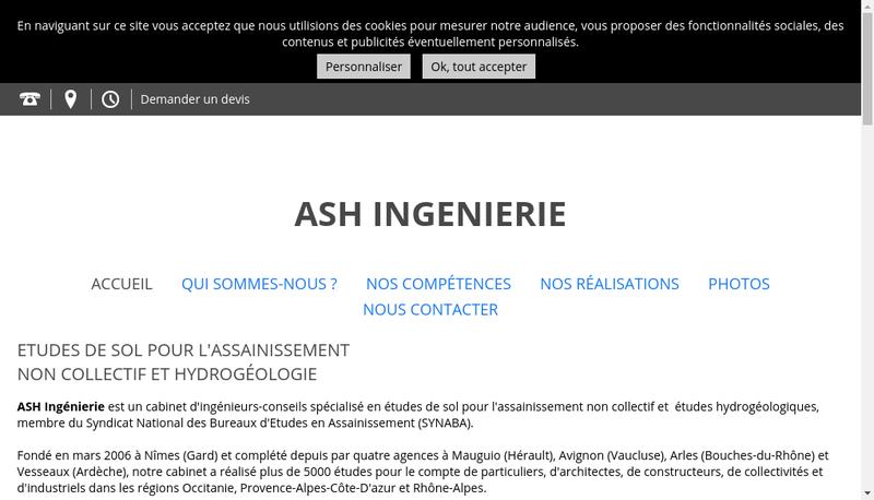 Capture d'écran du site de Ash Ingenierie