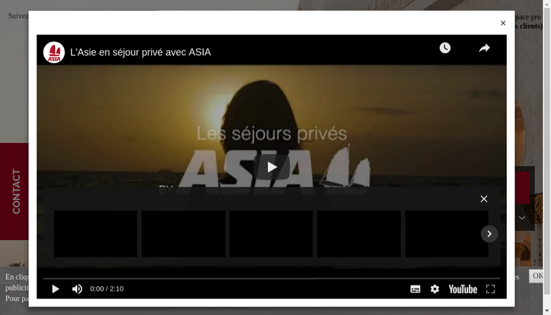 Capture d'écran du site de ASIA