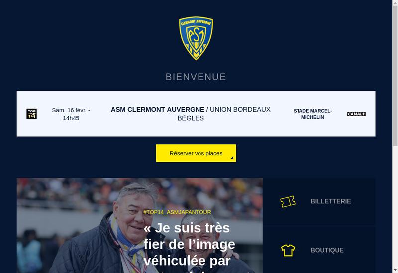 Capture d'écran du site de Asm Clermont Auvergne