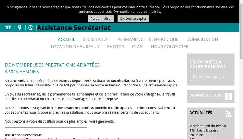 Capture d'écran du site de Assist Secretar Perman Telephon Domici