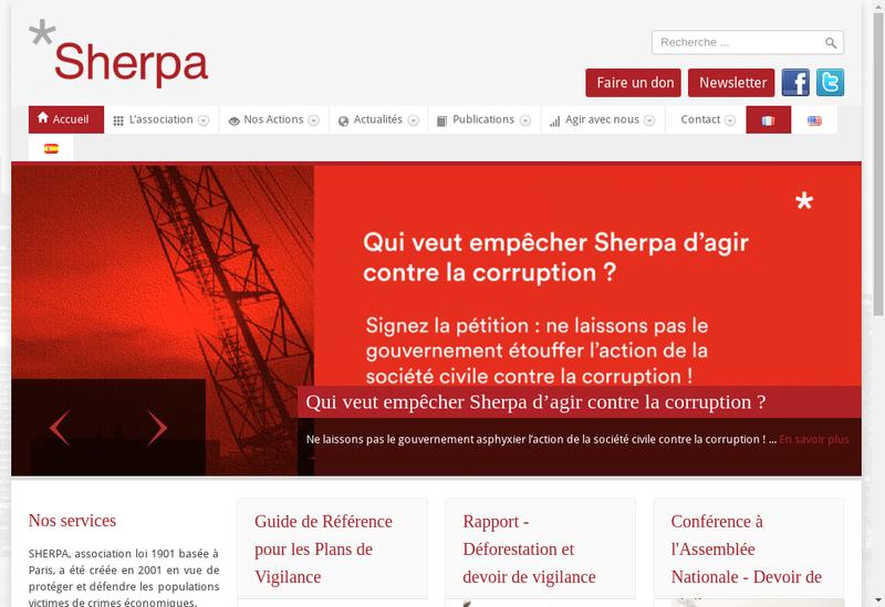 Capture d'écran du site de Sherpa