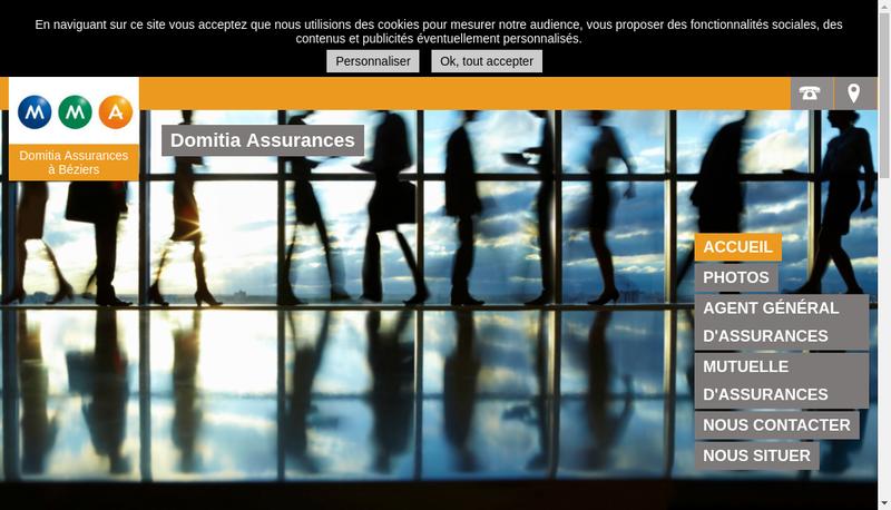 Capture d'écran du site de Domitia Assurances