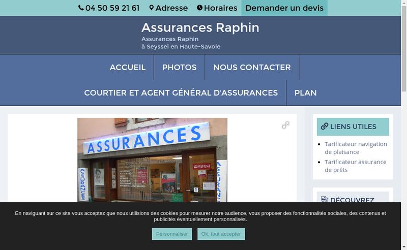 Capture d'écran du site de Assurances Raphin