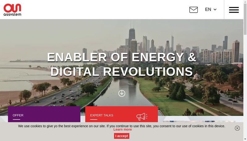 Capture d'écran du site de Assystem Technologies