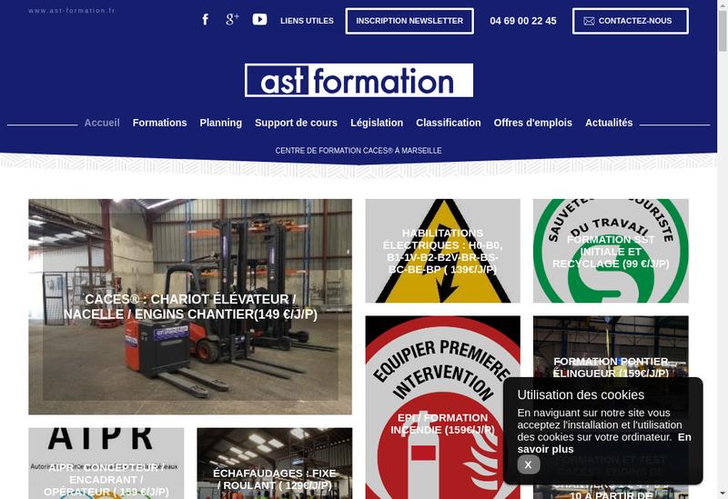 Capture d'écran du site de Ast Formation