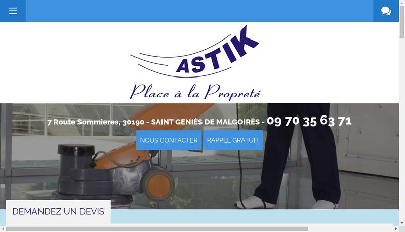 Capture d'écran du site de Astik