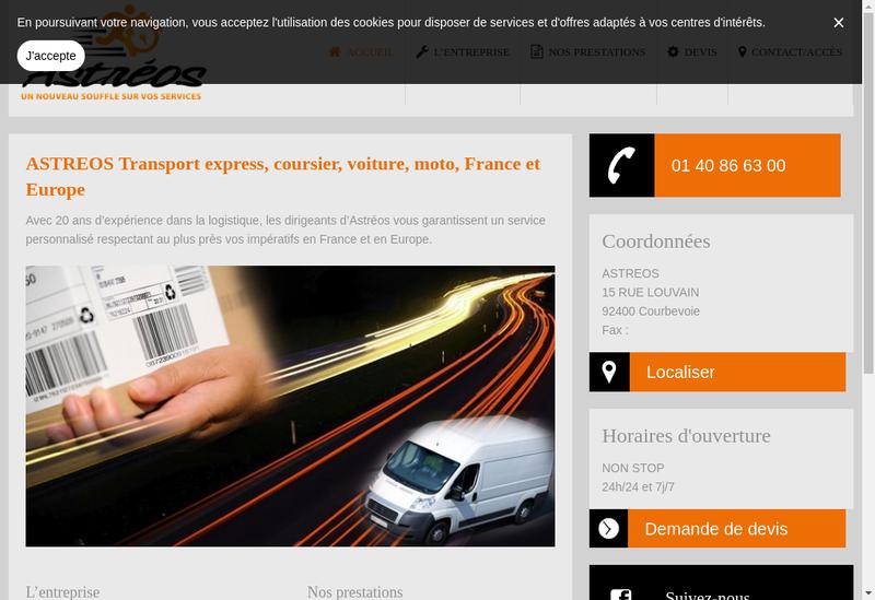 Capture d'écran du site de Astreos