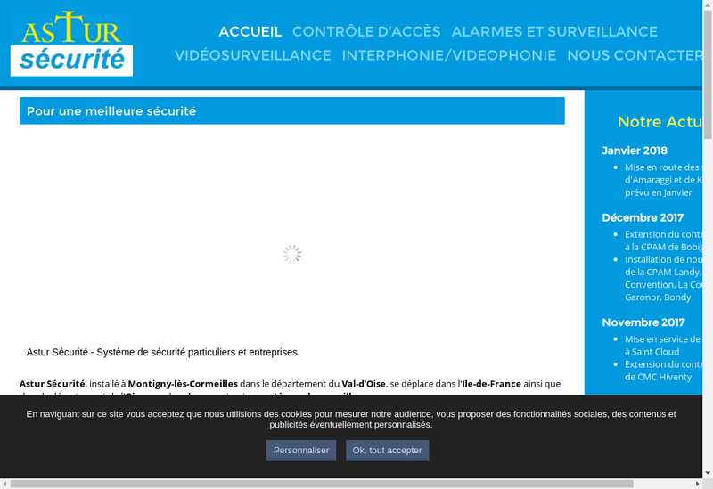 Capture d'écran du site de Astur Securite