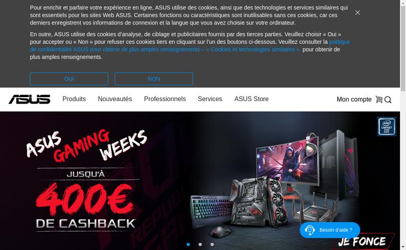 Capture d'écran du site de Asus France
