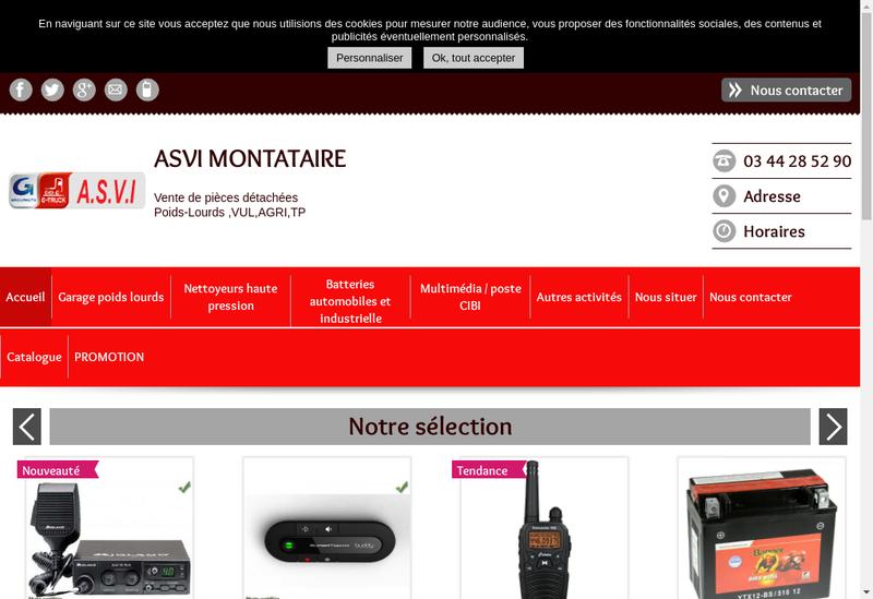 Capture d'écran du site de Auto Specialites Vehicules Industriels