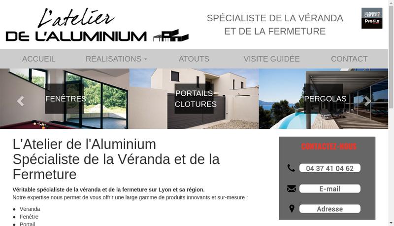 Capture d'écran du site de L'Atelier de L'Aluminium