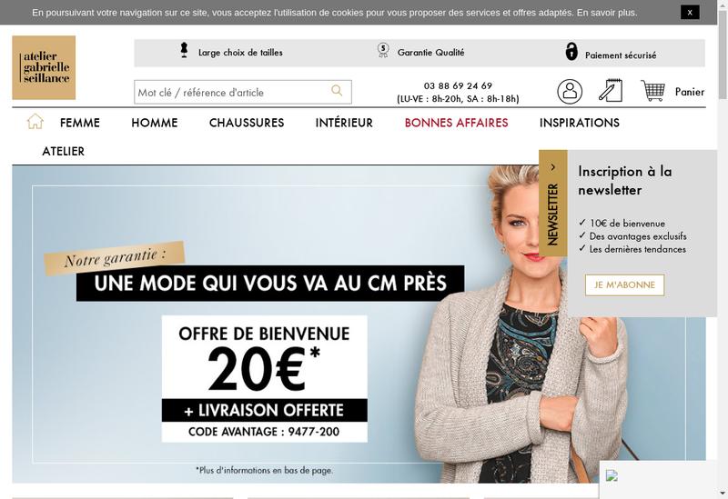 Capture d'écran du site de Atelier Gabrielle Seillance