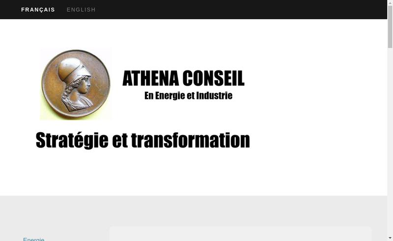 Capture d'écran du site de Athena Conseil en Energie et Industrie