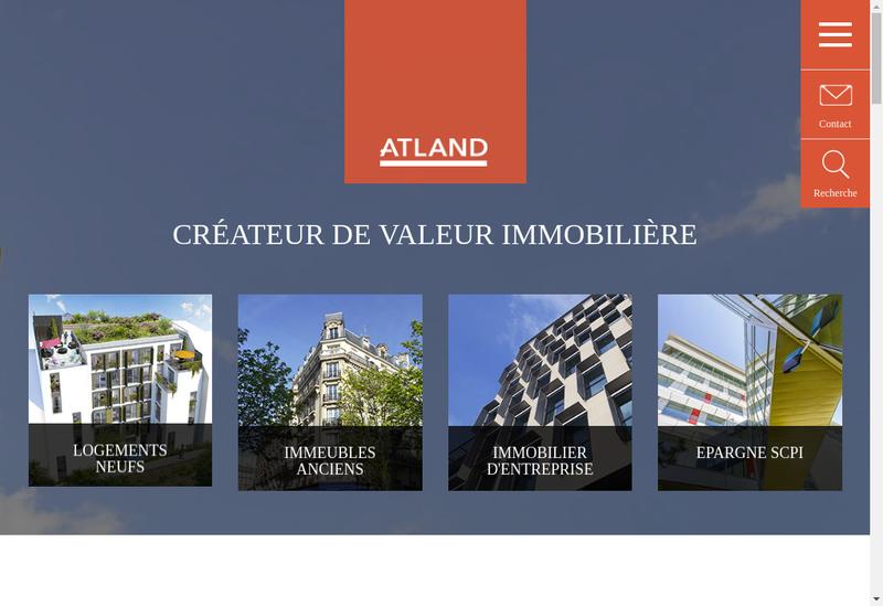 Capture d'écran du site de Atland Developpement