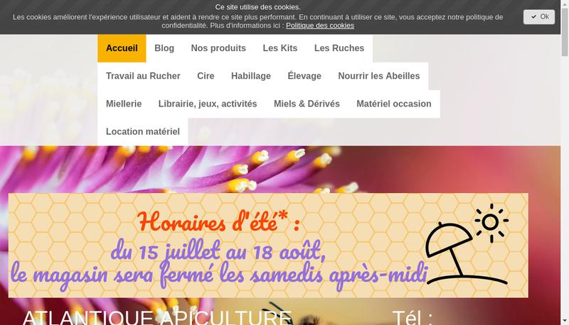 Capture d'écran du site de Atlantique Apiculture