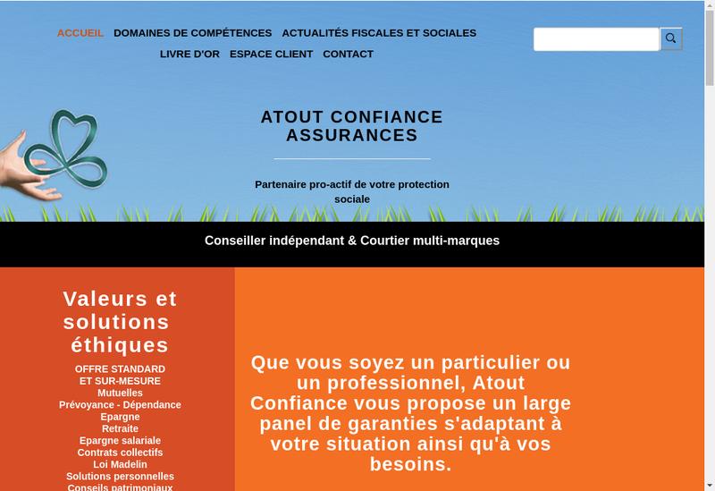 Capture d'écran du site de Atout Confiance Assurances