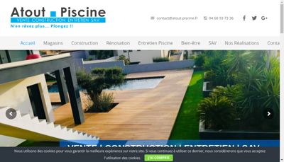 Capture d'écran du site de Atout Piscine