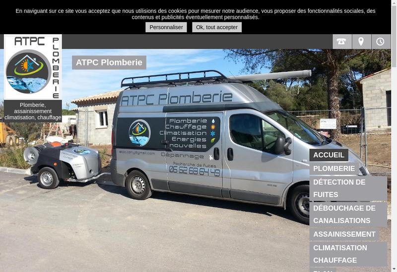 Capture d'écran du site de Atpc Plomberie