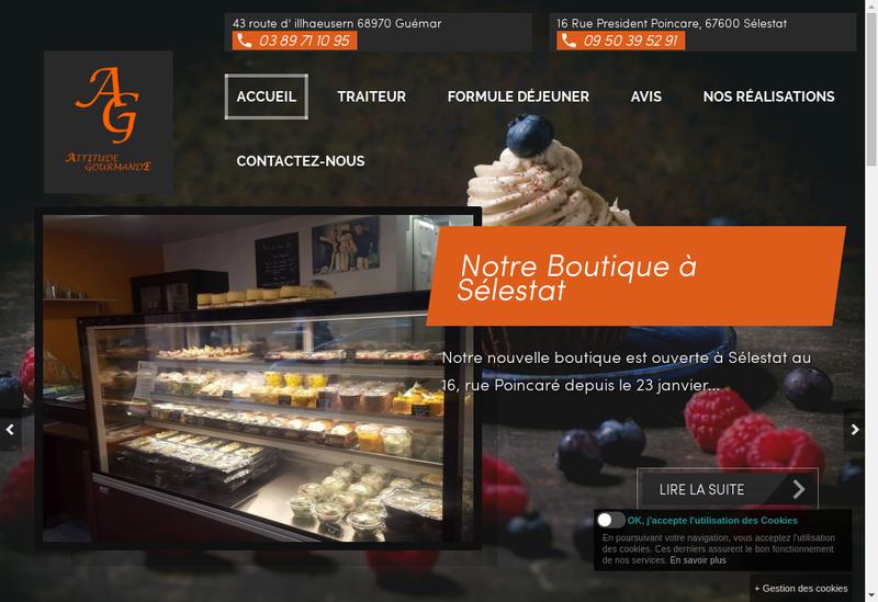 Capture d'écran du site de Attitude Gourmande