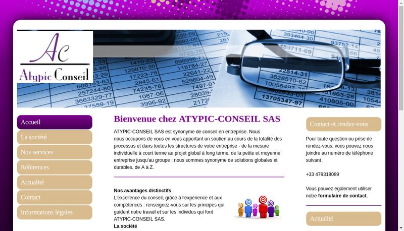 Capture d'écran du site de Atypic Conseil