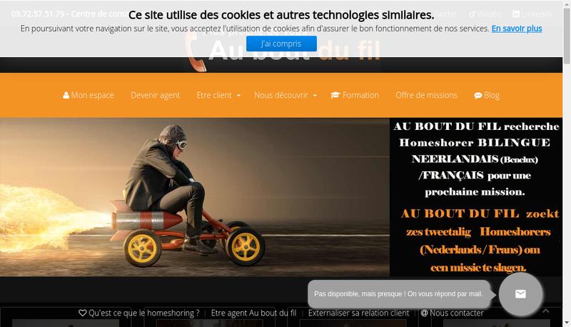 Capture d'écran du site de Au Bout du Fil
