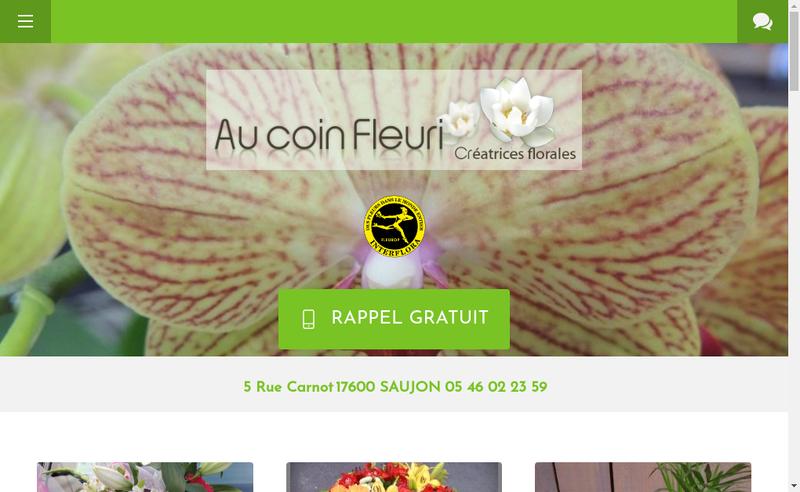 Capture d'écran du site de Au Coin Fleuri
