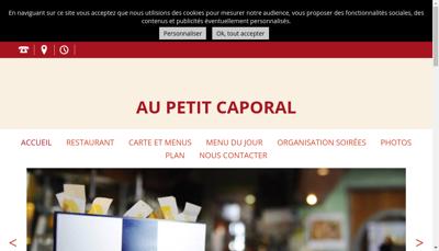 Capture d'écran du site de Au Petit Caporal