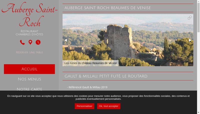 Capture d'écran du site de À la Table de Nicolas