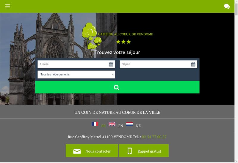 Capture d'écran du site de Camping au Coeur de Vendome