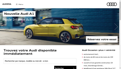 Capture d'écran du site de Audera