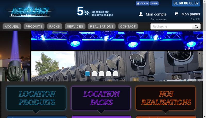 Capture d'écran du site de Audiolight