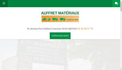 Capture d'écran du site de Auffret Materiaux