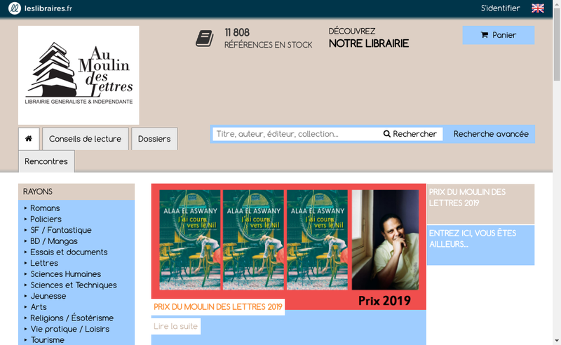 Capture d'écran du site de Au Moulin des Lettres