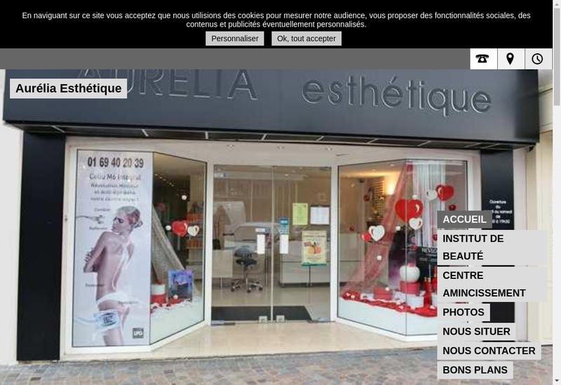 Capture d'écran du site de Aurelia Esthetique