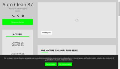 Capture d'écran du site de Auto Clean 87