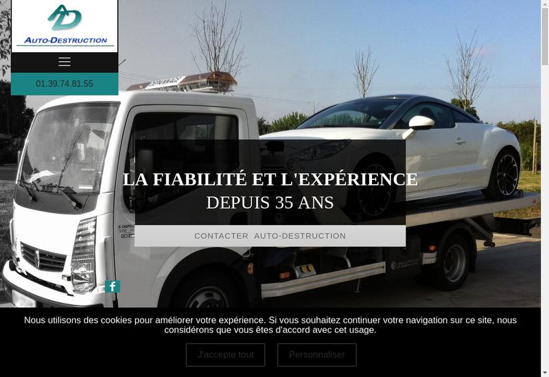 Capture d'écran du site de Auto-Destruction