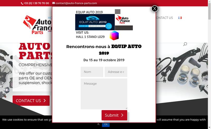 Capture d'écran du site de Auto France Parts