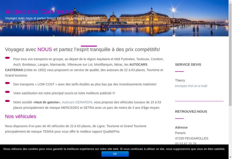 Capture d'écran du site de Autocars Casteran