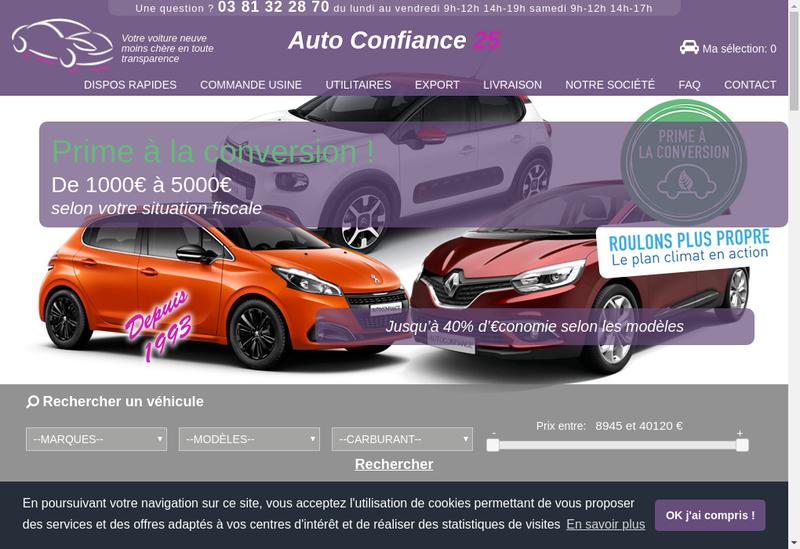 Capture d'écran du site de SARL Autoconfiance 25