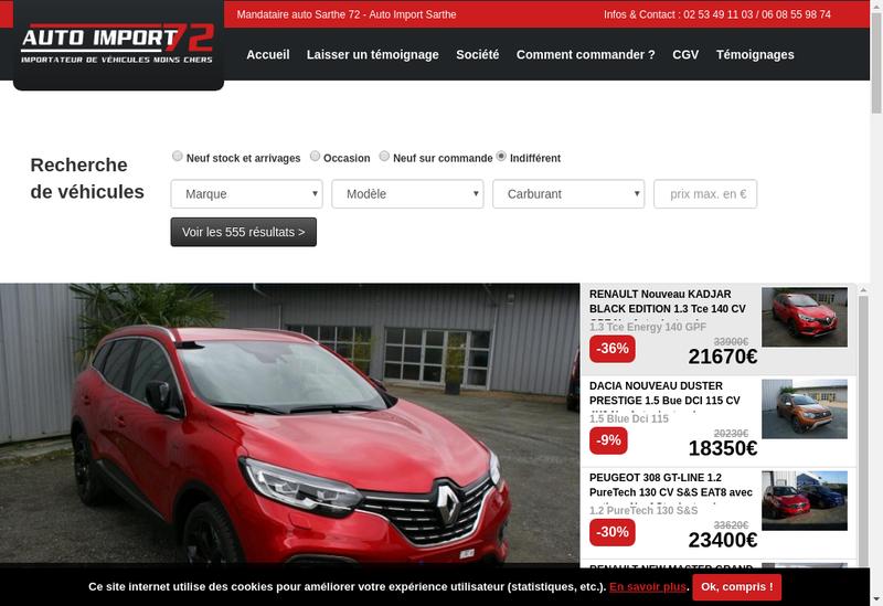 Capture d'écran du site de Auto Import 72