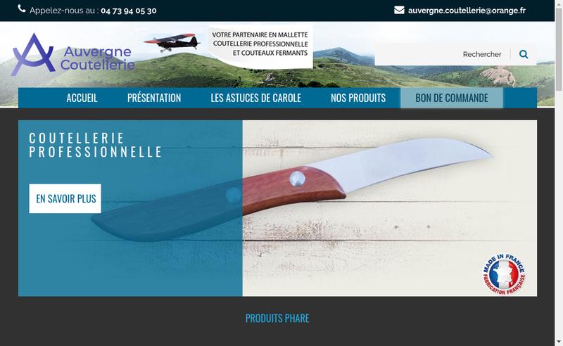 Capture d'écran du site de Auvergne Coutellerie